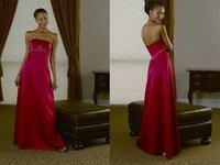 Free Shipping Popular Floor-length Sleeveless Satin Bridesmaid Dress Wholesale and Retail BD-002