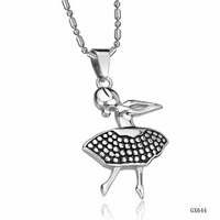 (min order 10$) dancing girl pendant necklace stainess steel jewelry free shipping 644
