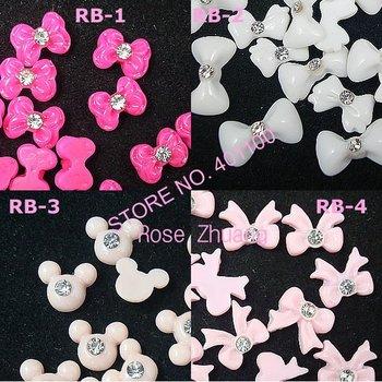 Freeshipping-Resin Bow with Rhinestone Nail Art Decoration Colors Bowknot 100pcs/bag wholesales
