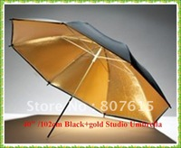 "Wholesale   40"" /102cm  Black+gold/golden Reflective Studio Umbrella Diffuser For Flash Speedlite & Free shipping"