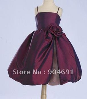 Short Burgundy Junior Bridesmaid Dress Spaghetti Straps with Flower Knee Length Flower Girl Dress with zipper Back