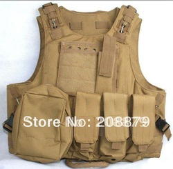 Free Shipping Molle Tactical Vest / Seal Amphibious ves /War Game Protective vest Khaki Colour(China (Mainland))
