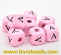 Pink Alphabet/ Letter &quot;A&quot; Cube Wood Beads 10x10mm(B15019x20)