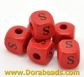 "Red  Alphabet/ Letter ""E"" Cube Wood Beads 10x10mm(B15024x20)"
