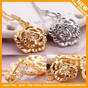 Rose necklace.Fashion necklaces.Cheap jewelry.Multi-layer hollow.Camellia.Alloy.Gold,Silver.Free shipping.10 pcs/lot.Wholesale.
