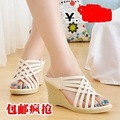 2013 fashion ladies high wedge heel sandals women wedge summer shoes fish mouth wholesale free shipping