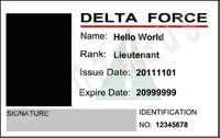 custom personalized ur pic United States Delta Force PVC movie id card