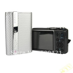 Hot Sale! Protective PU Leather Metal Lines Digital Camera Carrying Case for SONY Cybershot - Silver(China (Mainland))