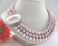 """Beautiful3row17-19"""" 10mm purple round FW pearl necklace"""