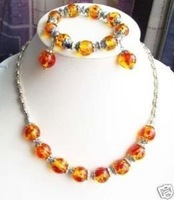 WHOLESALE AMBER BRACELET NECKLACE EARRING SET