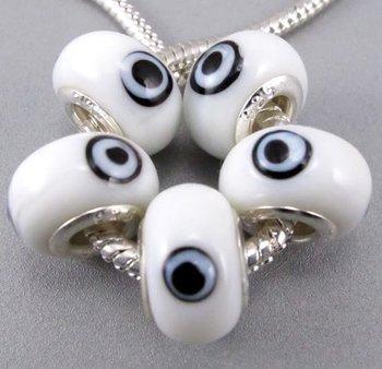 white  Wholesale 100pcs multicolor Evil Eye Blue Murano Glass Beads.Fit Bracelet