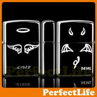 Lighters Smoking Fashion Black Angels and Demons Material steel plates Z-04 free shipping