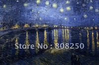 Free Shipping ,Museum Quality ,Oil Painting Reproductions On Canvas,Starry Night Over The Rhone