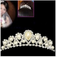 Princess Feel Crystal Pearl Crown Cap Hair Combs, Wedding Party Fashion Hair Pins. Free shipping