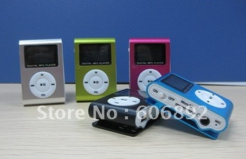 Free shipping 5pcs/lot New LCD Mini Metal Clip MP3 Player with screen For 1G-8G TF Card + Gift Guaranteed100%