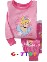 Free shipping 6sets/lot Cheap Children Clothing Sets ,girls cotton pajamas with printed cartoon,kids sleepwear sy2213