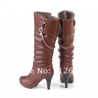Christmas & New Year's presents, genuine leather women boots, high heel boots, roman boots