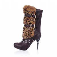 Christmas & New Year's presents, genuine leather women boots, high heel boots, leopard boots