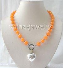 """Gorgeous 21"""" 12mm orange round jade necklace(China (Mainland))"""