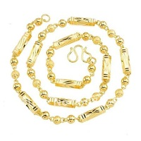 51CM Titanium Steel Long Chains, Free Shipping/Wholesale Large Men's 316L Steel Chain,Luxurious 24K Gold Plated necklace