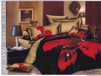 Hot Beautiful 4PC 100% COTTON COMFORTER DUVET DOONA COVER SET QUEEN / KING SIZE bedding set 4pcs red calla floral