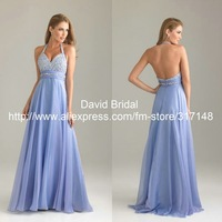 2013 Floor Length A Line Beaded Long Backless Halter Chiffon Evening Dress Blue Gowns YE066