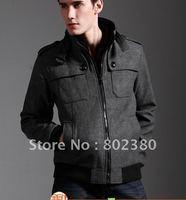 Free Shipping  New Men's Jacket Leisure man woolen  coat Hot Men's dust coat Color:Drak gray,Black Size:L-XL-XXL-XXXL