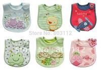 Free shipping 2013 latest embroidery Waterproof baby bibs Infant saliva towels 3-layer Baby bib/Waterproof bib