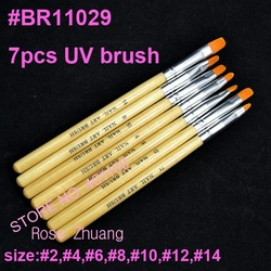 Freeshipping-7 pcs Professional UV Gel Brush Nail Art Painting Draw Brush with Wood handle Dropshipping [RETAIL] SKU:G0037(China (Mainland))