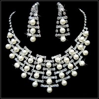 Y110 Wholesales-Special design RHINESTONES BRIDE NECKLACE EARRINGS JEWELRY SETS simulated diamond porm jewelry sets
