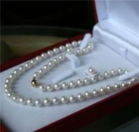 """3PC 8MM White Akoya shell Pearl Necklace + Earring AAA 18"""""""