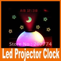 Freeshipping 2014 New special flashing led Projector projection clock alarm toy For clock led Night light