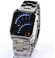 Stylish Fan like LED Display Digital Watch Wristwatch w/ Metal Band