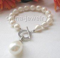 "8"" 11mm white baroque FW pearl bracelet & 20mm shell pearl"
