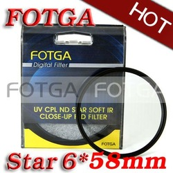 Free shipping!Wholesale!Fotga Four 6 Point 6PT Star Filter for 58mm Lens for Canon Nikon Sony Olympus Camera(Hong Kong)