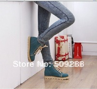 Qiu dong new women's short boots/Martin boots,blue