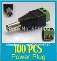crazy sale !100pcs/lot 5.5/2.1mm  CCTV UTP Power Plug Adapter Cable DC/AC 2, Camera Video Balun Connector