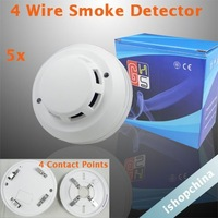 5pcs/Lot Four 4 Wire Connection Points Photoelectronic Smoke Fire Detector Security Sensor for Wired Alarm System AT-602PC-4