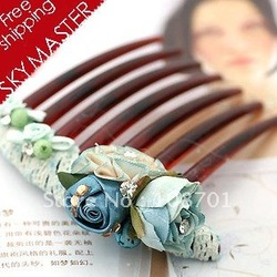 Hot selling-High quality Handmade Classic Chiffon Fabric Flowers Hair Combs Free shipping(China (Mainland))