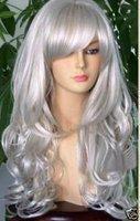 Long silver White Hair With Bang Wig +cap+Gift