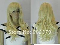 new women's light blonde wavy long healthy wig