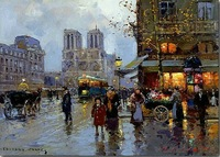 Free Shipping,16x20 inch 100% Hand painted edouard leon cortes place st michel notre dame Oil Prints!C26[Colorful Life]