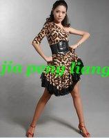 Women's Dance Clothing lady's Latin Dancerwear Training Clothing Women's Leopard Pattern Dresses  S M, L,XL Free Shipping