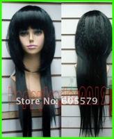 free   shipping  Fashion beautiful long black Straight hair wigs