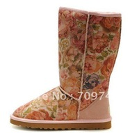 Free shipping Popular Australia Women's 5802 Rose Flower Boots Snow Boots with Certificate,Dust Bag,Box,Long length