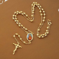 "Loyal women Cool pendant 14k yellow gold gf cross necklace bead chain 23.6"" 12G"
