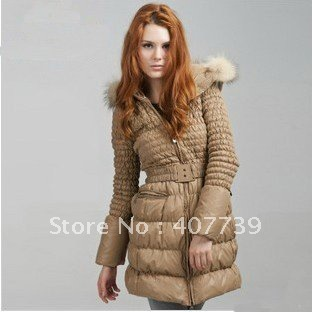quality-marten hair collar Women's Down Coat Lady Long  downJacket Hood & Belt Winter Clothes winter coat women