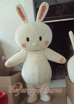 The White Fur Rabbit Mascot Costume Adult Size Fancy Dress Party Outfit Free Shipping
