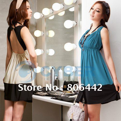 Sexy Deep V-Neck Sleeveless Beauty Back Pretty Mini Milk Silk women dresses Beige/Blue color +(China (Mainland))