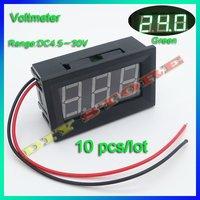 10pcs/lot Mini voltage meter DC2.7V-30V Green Digital Voltmeter Volt Panel Meter +free shipping-10000303